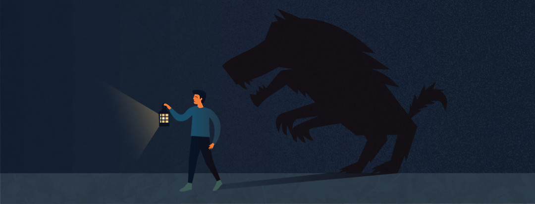 Man with lantern walking in the night followed by a shadow monster
