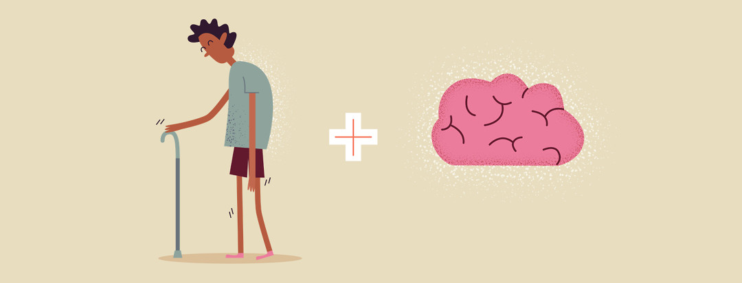 Image of man walking with gait issues and a brain to represent mental health.