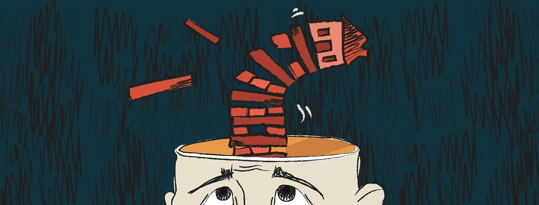 A concerned person looks up as a house tumbles from their head