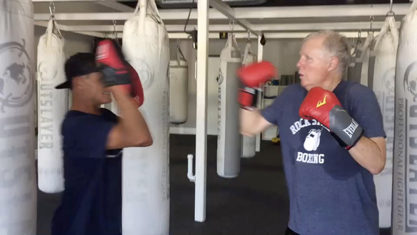 Contributor participating in a Rock Steady Boxing class