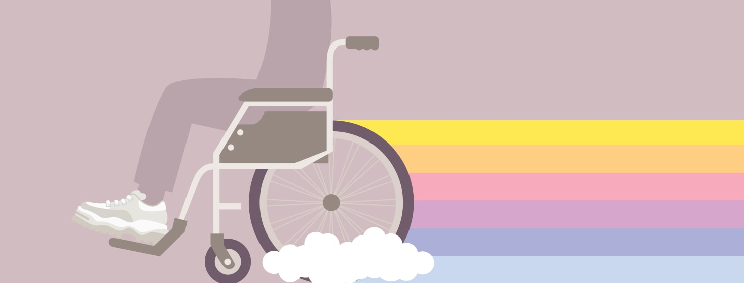 Person in a wheelchair trailing a rainbow symbolizing inspiration behind them
