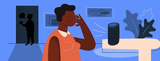 Woman listening to a smart device that amplifies her husband's voice