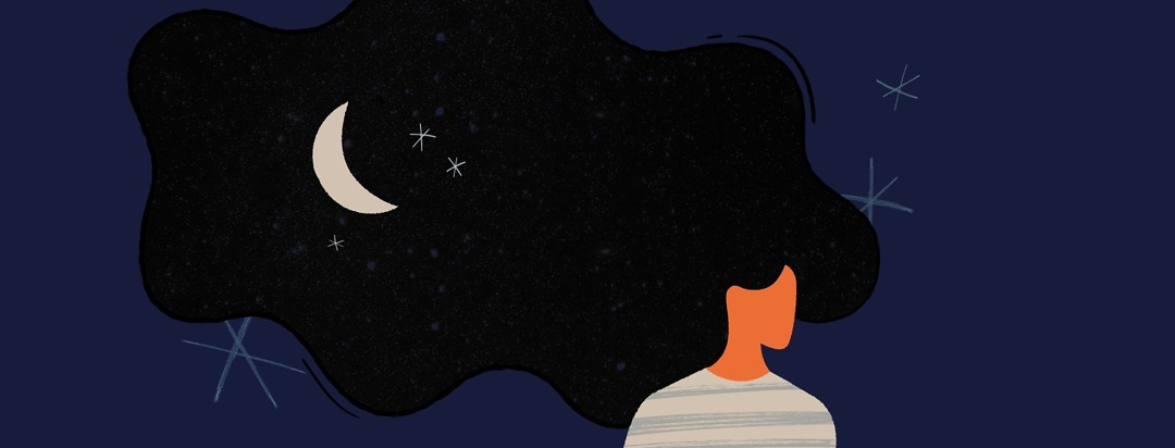 Woman with hair that looks like the night sky