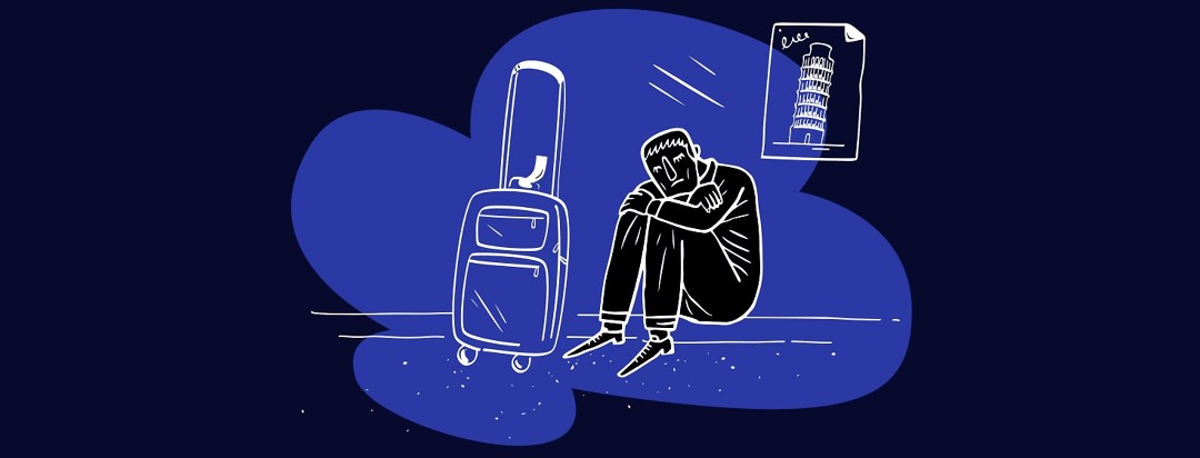 Man with Parkinson's sitting next to his suitcase struggling to cope while on vacation