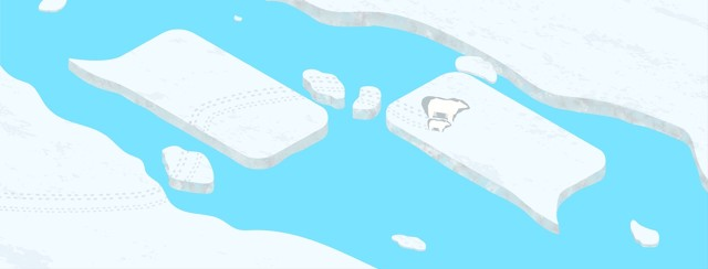 Mother and child polar bear navigating icebergs shaped like conversation bubbles