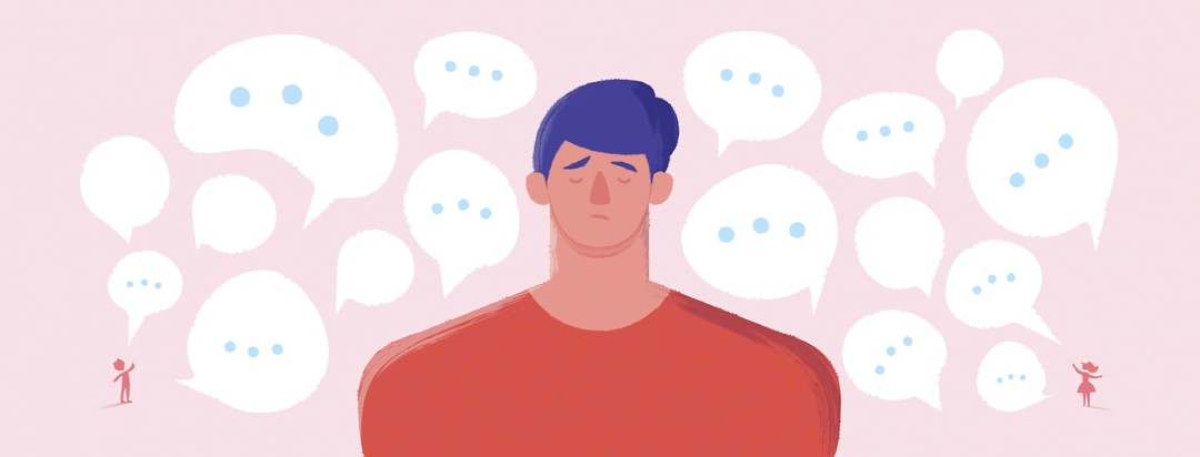 Stressed out caregiver surrounded by speech bubbles coming from two other people
