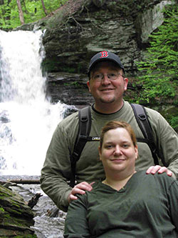 Dan and Wife Heather in front of a water fall at Ricketts Glen State Park