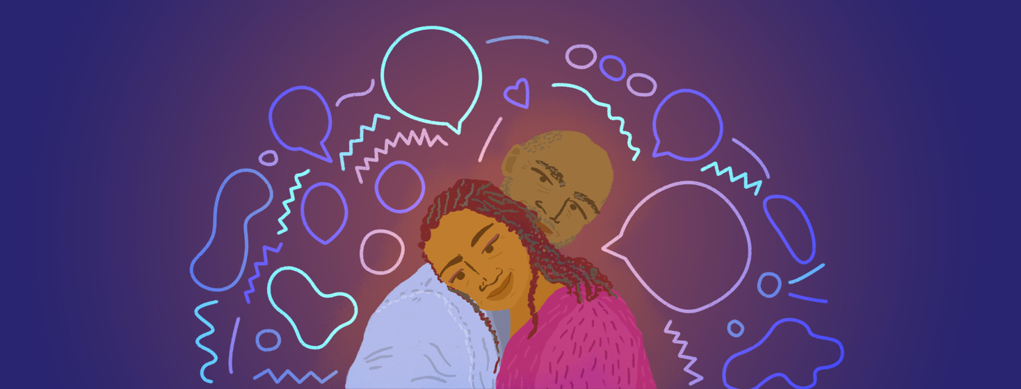 A woman with braids rests her head on the shoulder of a man who rests his head on her head behind her. Talk bubbles, hearts, and other communication symbols surround them.