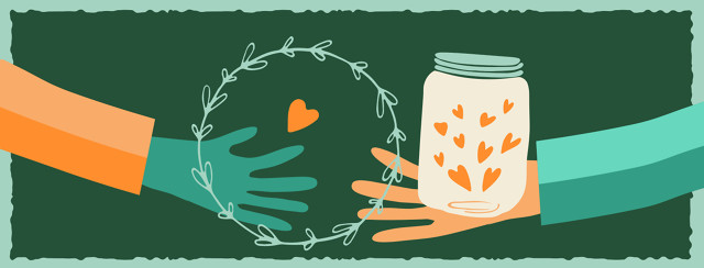 Two hands reaching out with a jar of hearts in the middle.