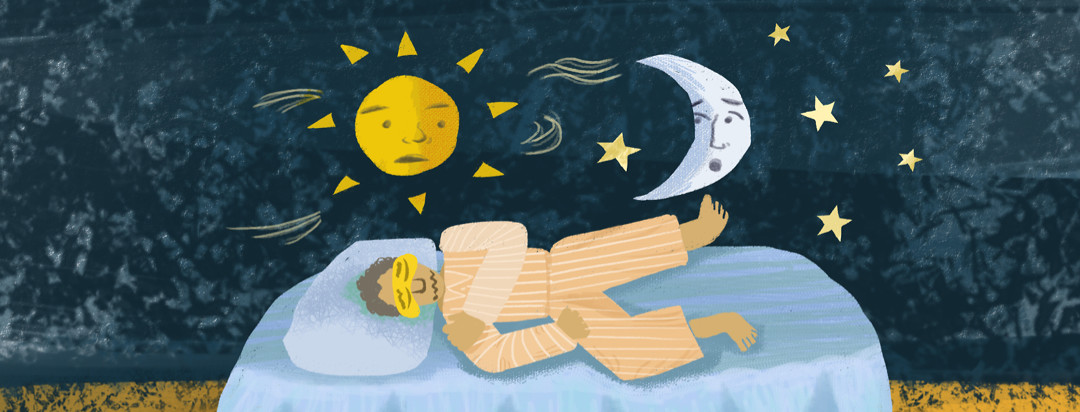 Man wearing pajamas sleeps with unease; the sun and the moon above him exchange concerned looks among stars.