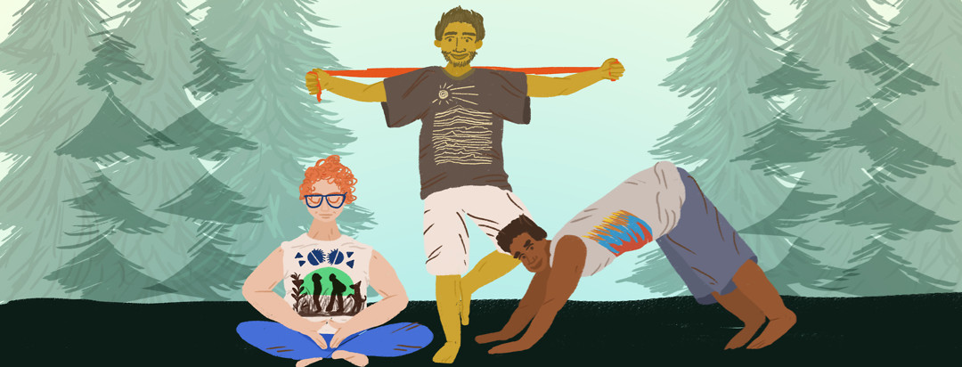 Three guys on a camping trip throw on their band t-shirts and all practice different forms of exercise together.