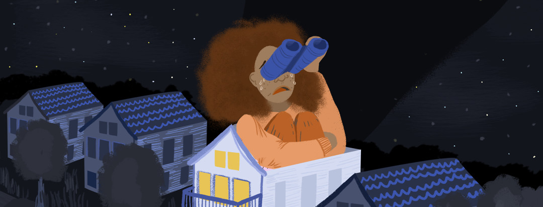 A woman sitting in her home at night searches into the sky for help and answers.