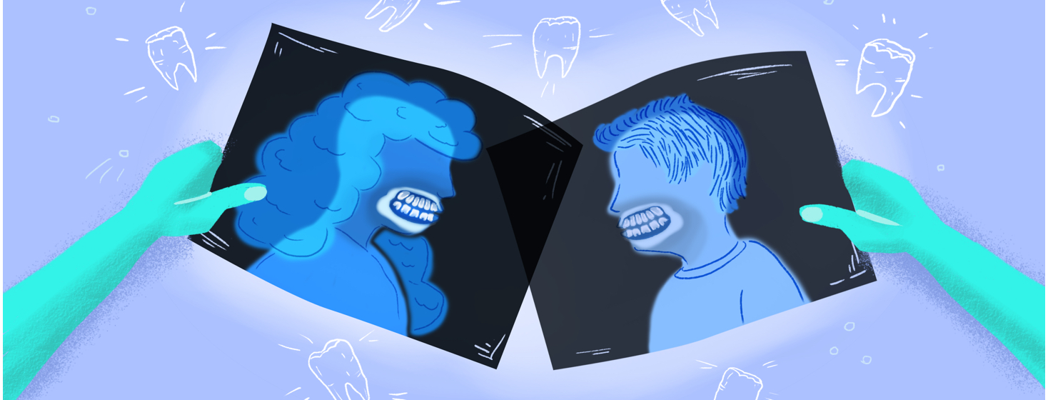 A pair of people get their teeth x-rayed to check for nocturnal bruxism.