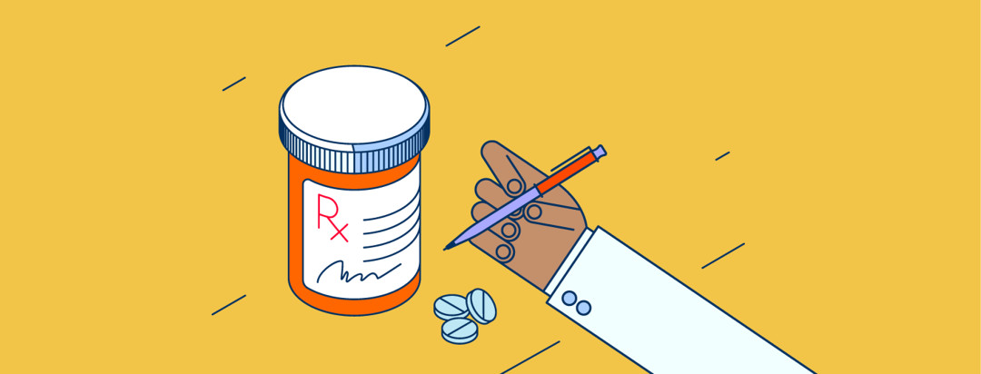 A doctor prescribes a bottle of pills to a patient.
