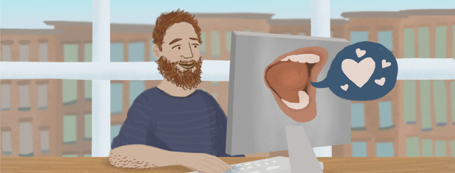 A person smiles at the positive feedback they receive online.