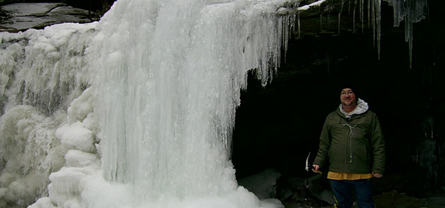 Dan at Ricketts Glen during winter