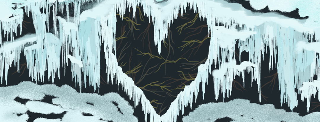 Icicles and snow form a heart shaped cavity in the middle.
