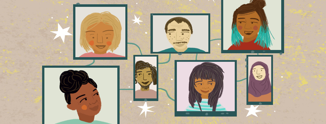 People smile and talk to each other through different digital screens.