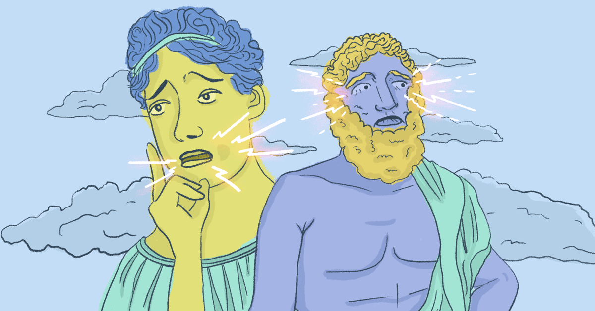 Two people dressed in ancient Greek attire have pained looks as lightning bolts emanate from their mouthes and eyes. Clouds surround the figures.