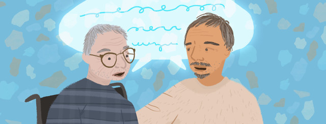 Two people with Parkinson's talk about shared experiences.