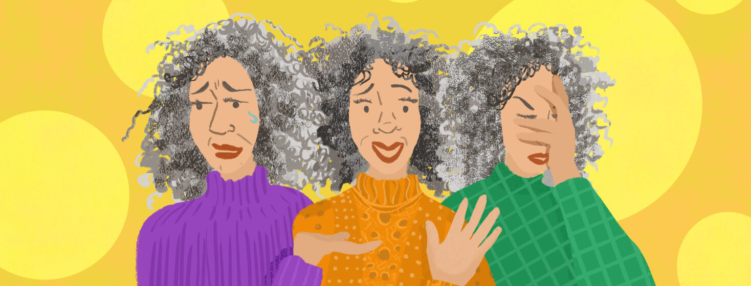 Woman with curly hair emotes with frustration, joy and friendliness, and shame.