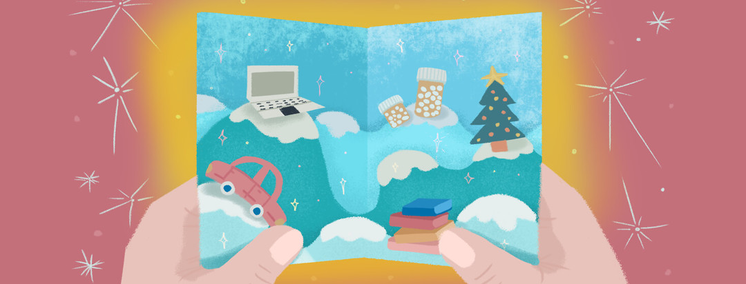 Person holds a holiday card featuring a laptop, tree, pills, car, and books.