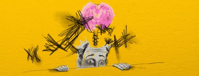Man peeks from above a wall with crossed sketches surrounding a drawing of his brain.