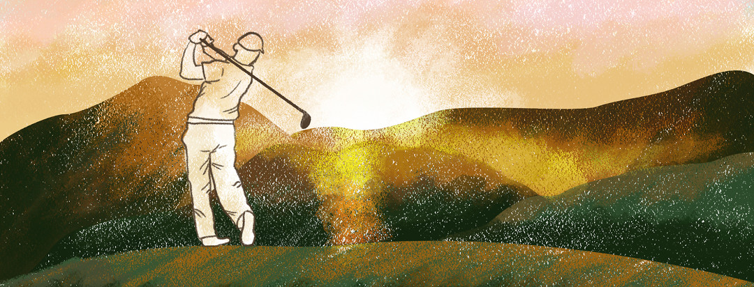 Man playing golf into rolling sunset hills.