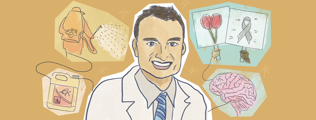 Dr Ray Dorsey interview featuring pesticides, paraquat, Parkinson's awareness with gray ribbon and red tulips, brain image.