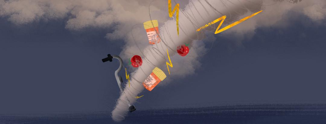 Tornado featuring cane, apples, pills, lightning bolts