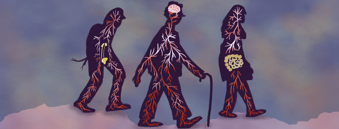 People with PD symptoms walk in silhouette through dark snow; bladder, intestines, and brain are highlighted.