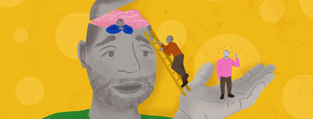 Person with open head revealing brain helps mini personified thoughts come out to chat on his palm.