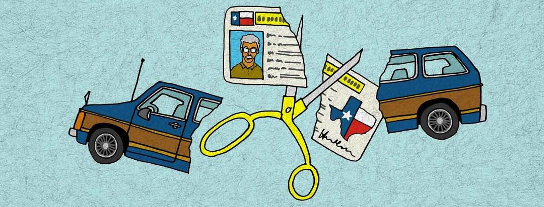 Scissors cutting Texas license and mini van in half.