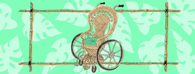 Wicker wheelchair with Swiss cheese plants floating behind sugar cane frame.