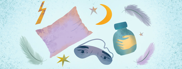 Pillow, eye mask with tired eyes, down feathers, pill bottle with hand, lightning bolt, stars, moon crescent.