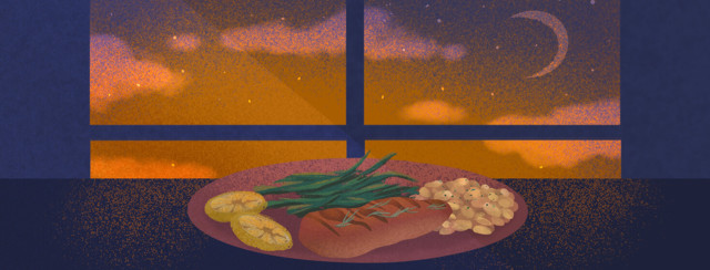 Dinner plate featuring high protein meal of steak, beans, green beans, and lemon slices in front of night sky window.