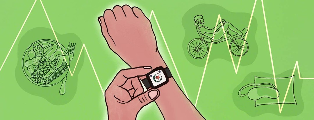 A close up of a fitness tracker watch on someone's arm. Behind them are images of a healthy meal, a recumbent bike, and a pillow and sleep mask.