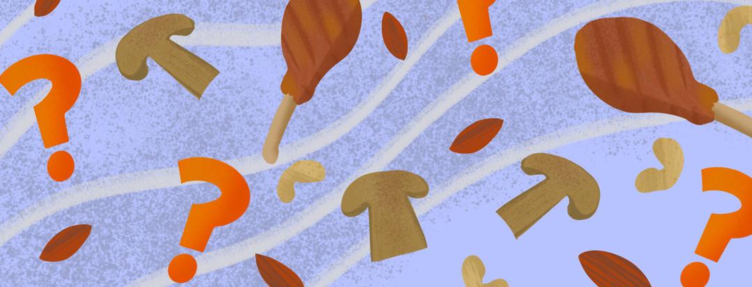 Pattern featuring question marks, chicken legs, mushrooms, cashews, almonds.