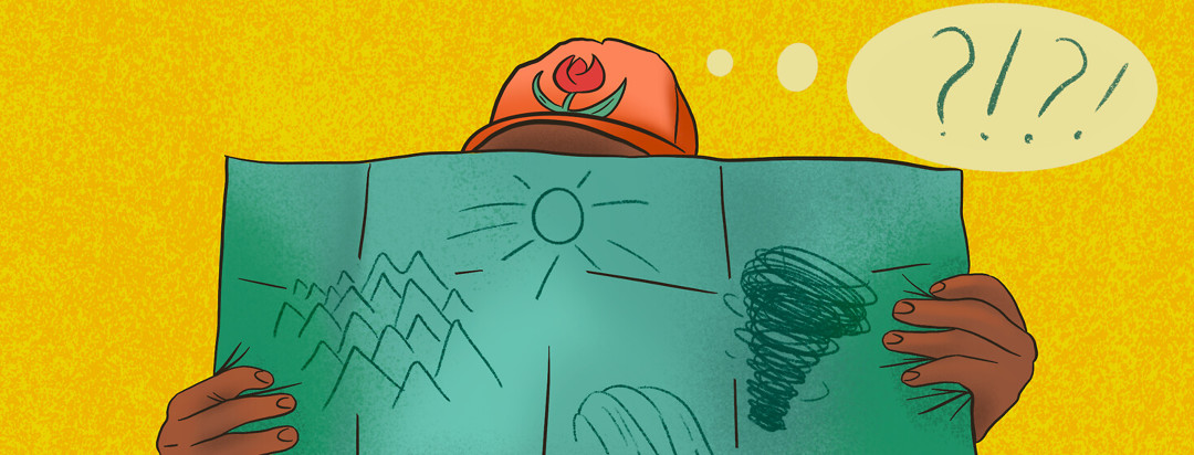 Person wearing Parkinson's red tulip baseball cap looks at road map featuring tornado, mountains, sunshine, and waterfall with questioning thought bubbles