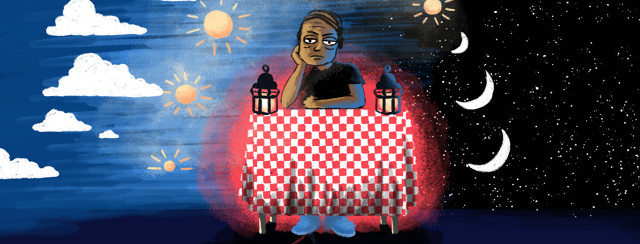 A frustrated man sits at a table as the sun & moon rise and set around him