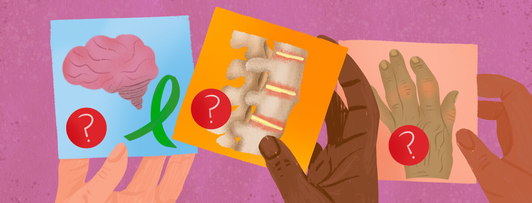Hands hold flash cards featuring ankylosing spondylitis, arthritis, and mental illness awareness with question marks.