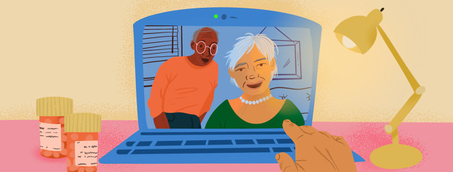 Couple in laptop webcam frame adjusts computer as desk lamp shines on them and pill bottles.