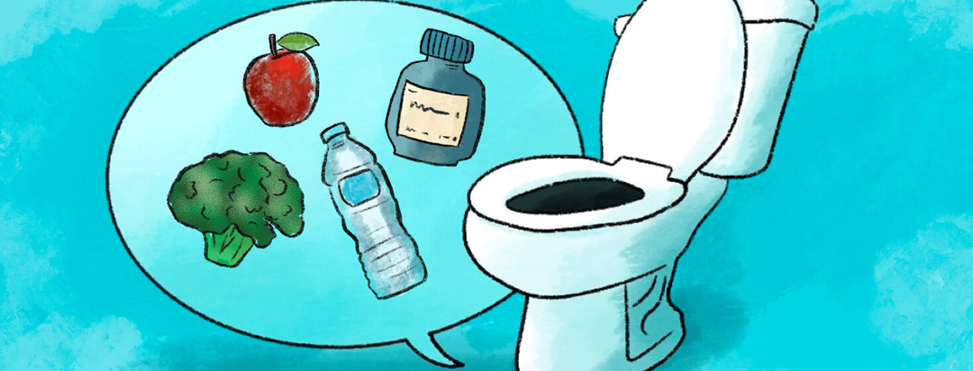 Toilet with talk bubble shows broccoli, apple, water bottle, pill bottle