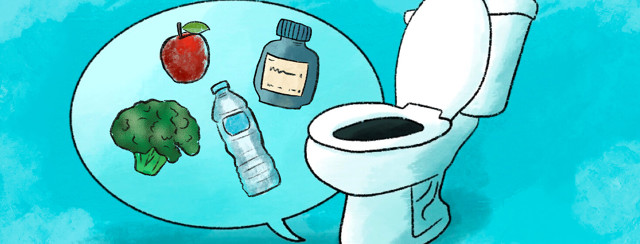 Toilet with talk bubble shows broccoli, apple, water bottle, pill bottle