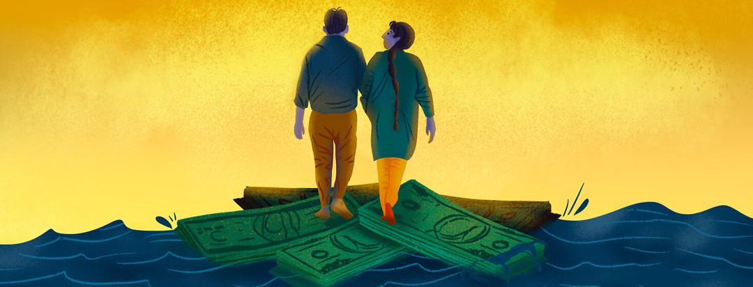 Father daughter walk across sinking money in body of water