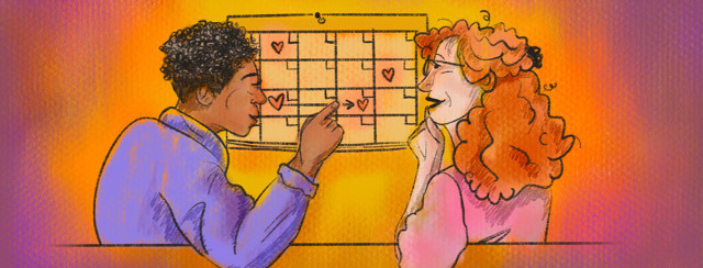 Couple makes plans on dating calendar together.