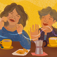 Care partner and patient dancing over coffee and pastry