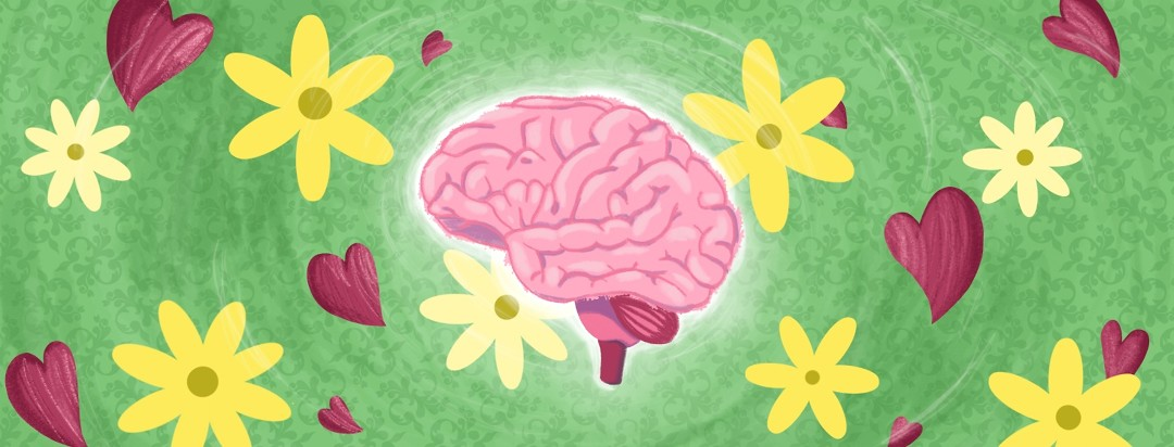 A glowing brain surrounded by happy daisies and hearts.