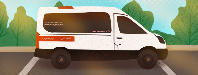 Medical non-emergency van in parking lot
