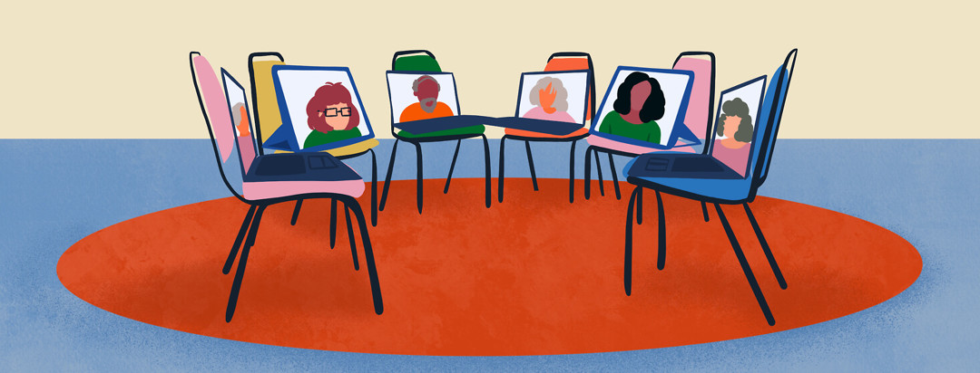 Chairs with tablets and laptops sitting atop them, arranged in circle for support group.